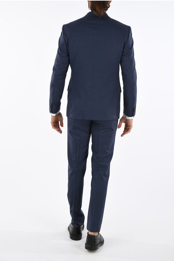 CC COLLECTION side vents pencil striped RIGHT 2-button suit