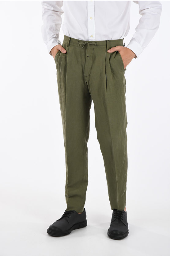 CC COLLECTION Silk and Cotton Drawstring Pants