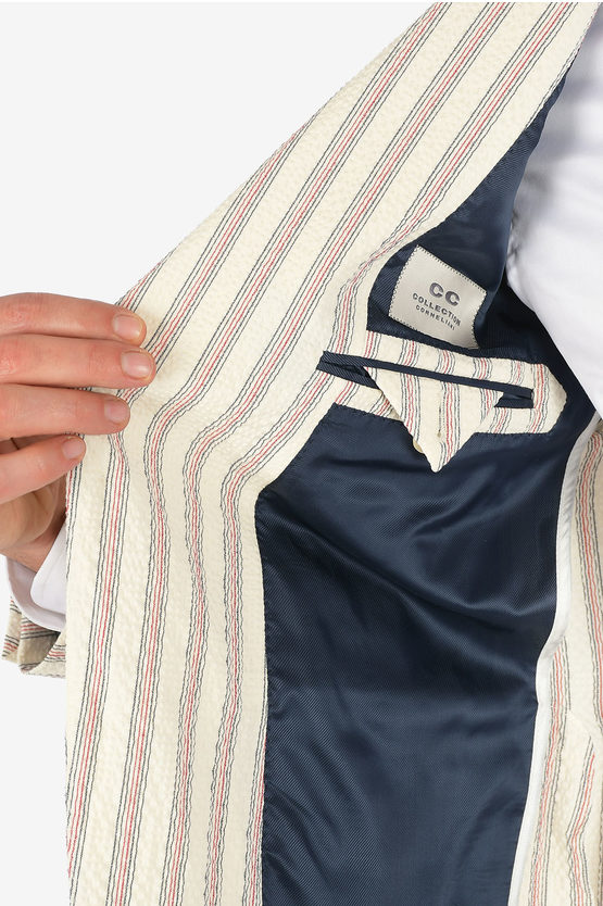 CC COLLECTION unbalanced striped REWARD blazer