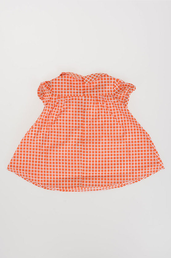 Checked Dress With Round Collar