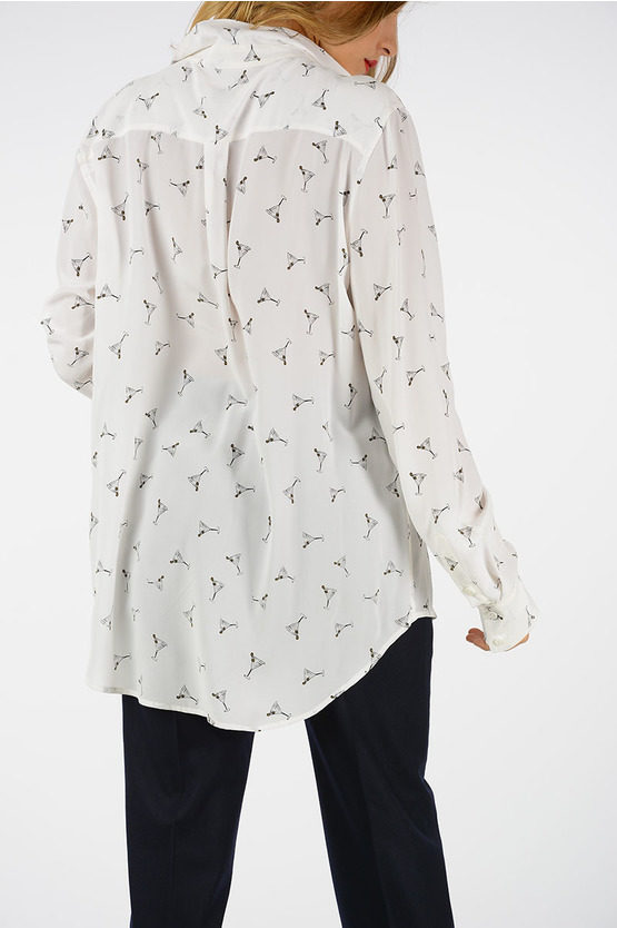 Cocktail Printed Silk Blouse