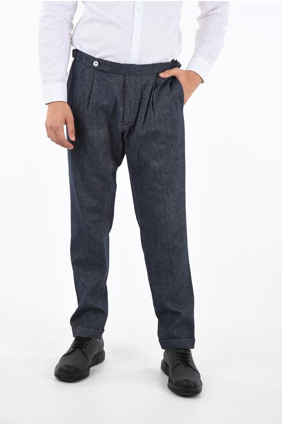 Cotton and Linen Double Pleat Pants