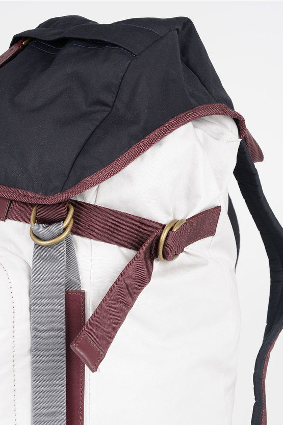 Cotton Backpack with Leather Details