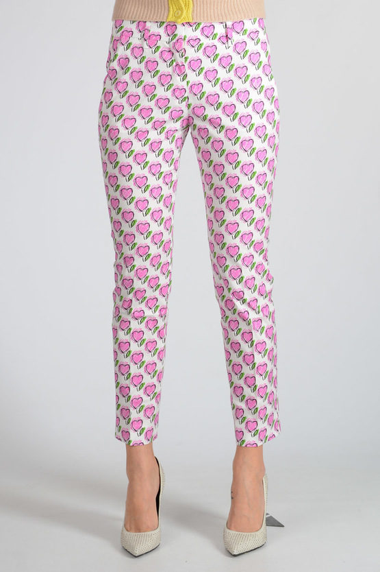 cotton Blend Heart Printed Pants