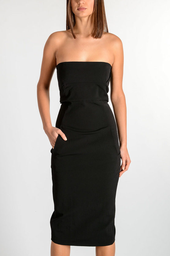 Cotton blend STRAPLESS DRESS