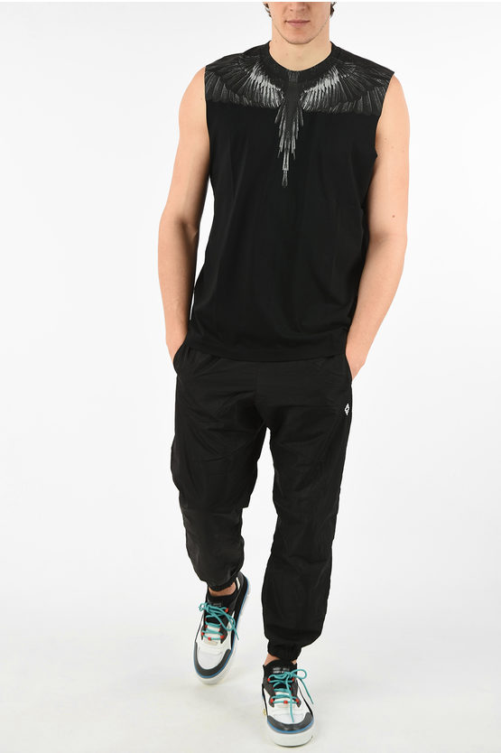 Cotton Sleeveless BLACK WINGS T-Shirt with Print