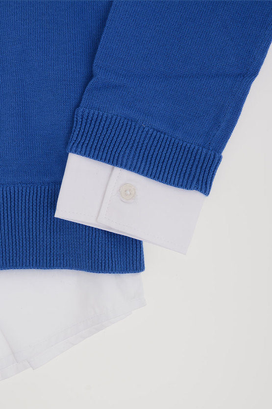 Cotton Sweater with Poplin Details