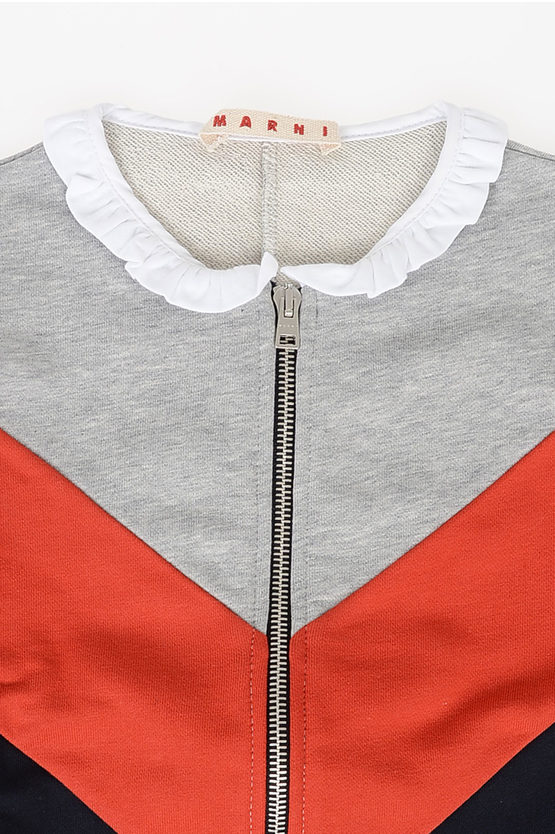Cotton Sweatshirt with Frill