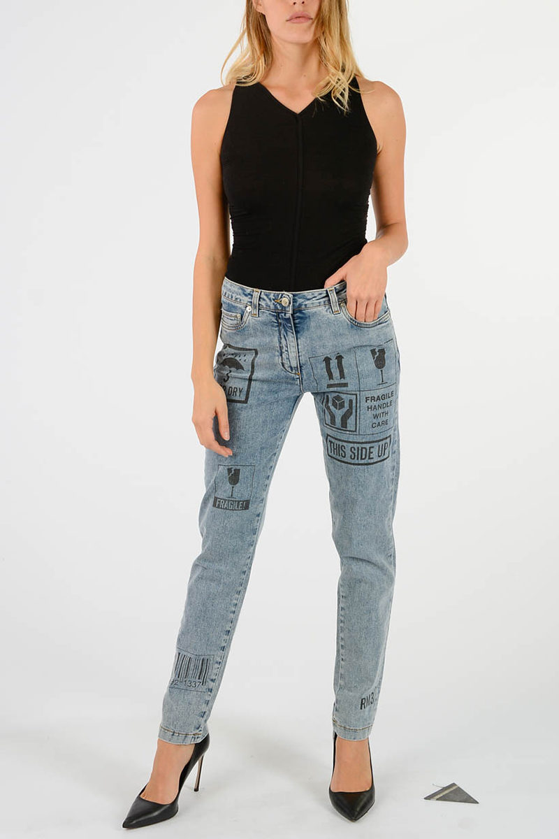 5cm Couture Denim 14 Moschino Jeans Glamood Printed Women Outlet EpwZwxCq7