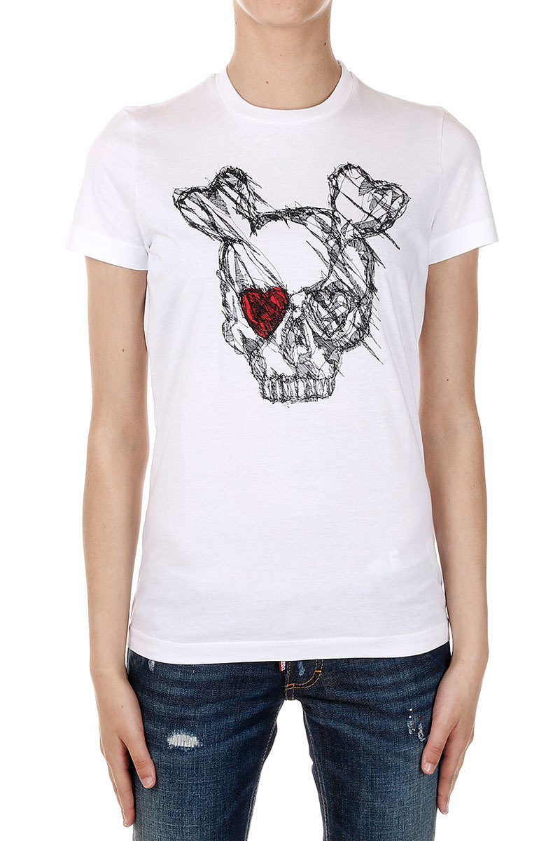 8e5919646bba Dsquared2 Crew Neck ICON Skull Printing T-shirt women - Glamood Outlet