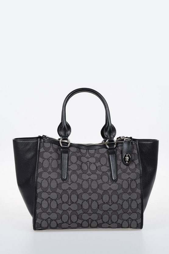CROSBY CARRYALL Leather and Fabric Signature Tote