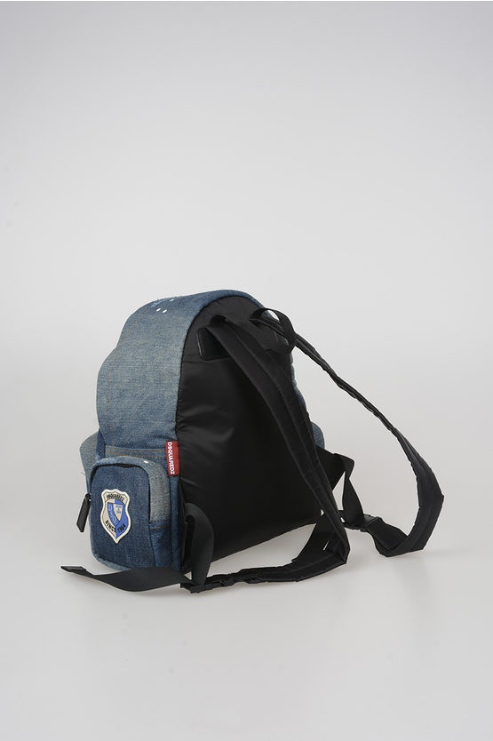 Denim Backpack with Patches Applied