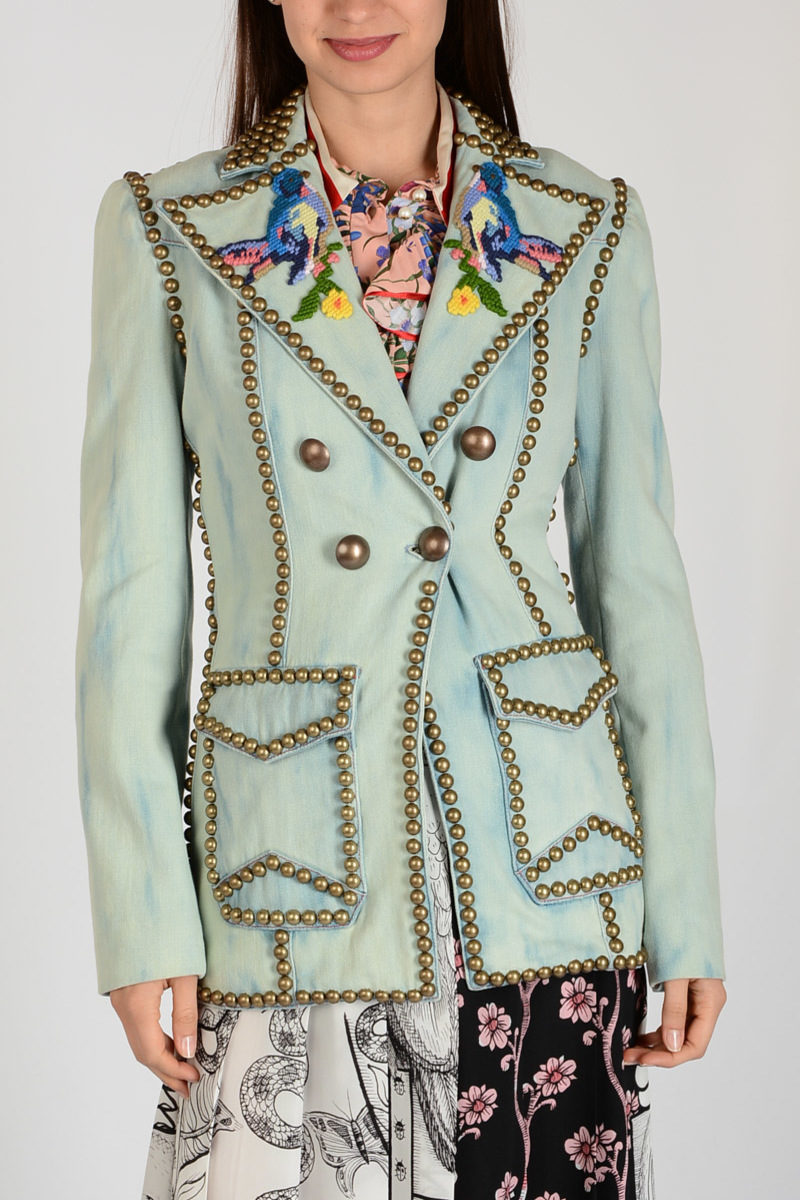 cbc45a5da Gucci Denim Embroidered and Studded Jacket women - Glamood Outlet
