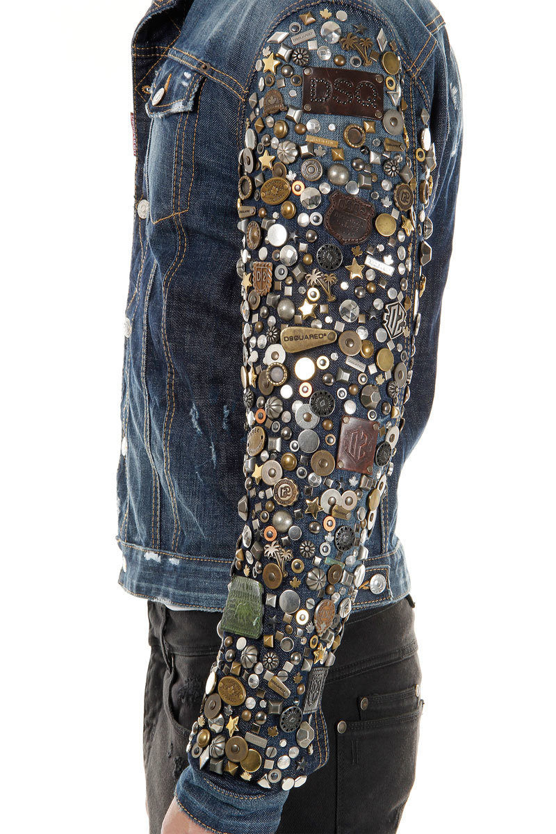 Dsquared2 Denim Jacket With Exlusive Studded Sleeves Men
