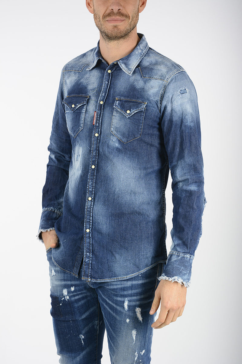 77e8ec53184 Dsquared2 Denim Shirt men - Glamood Outlet