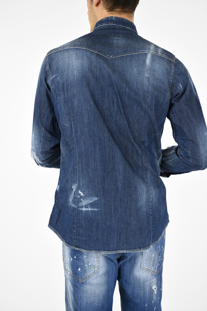 f5149d7fc01 Dsquared2 Distressed Jean Shirt with Applications men - Glamood Outlet