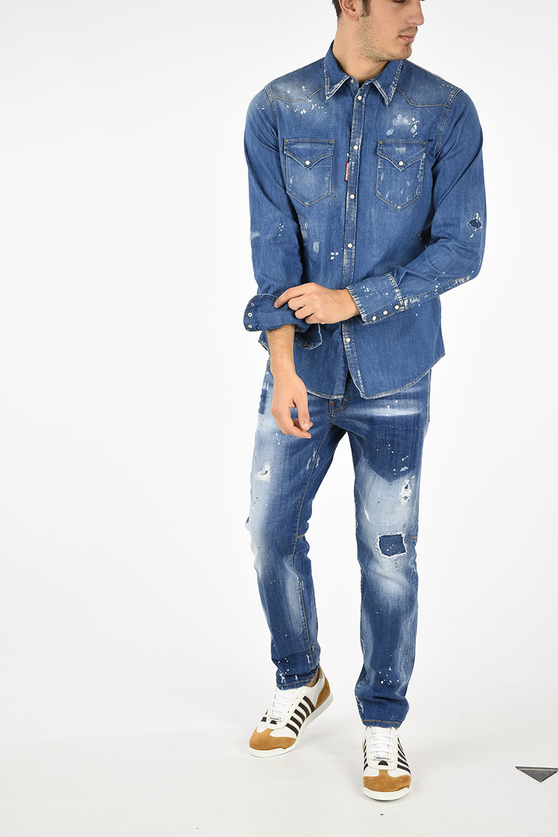 f033654e54e Dsquared2 Distressed Jean Shirt men - Glamood Outlet