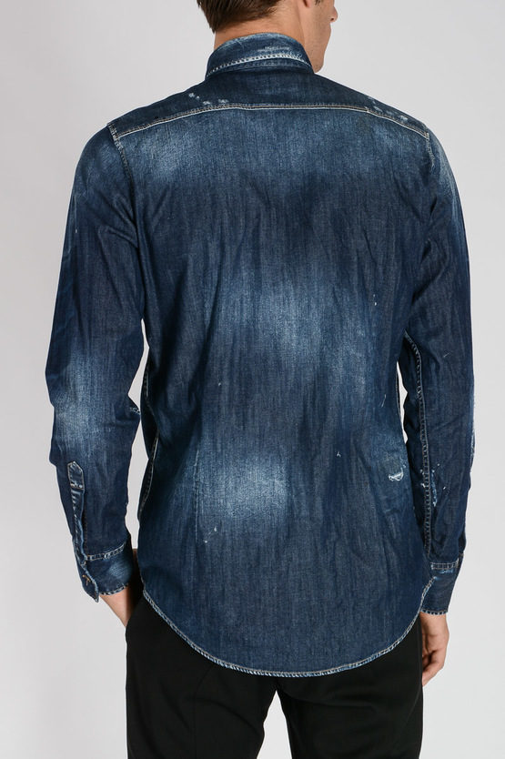 Distressed Stretch Denim Shirt