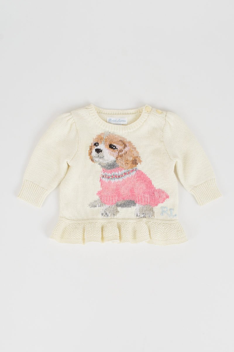 c390fdeda2116 Polo Ralph Lauren Kids Dog Embroidery Sweater girls - Glamood Outlet