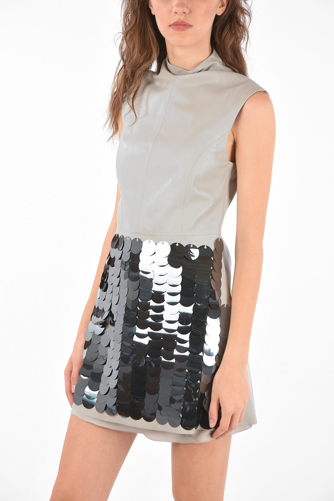double split side leather dress with sequins