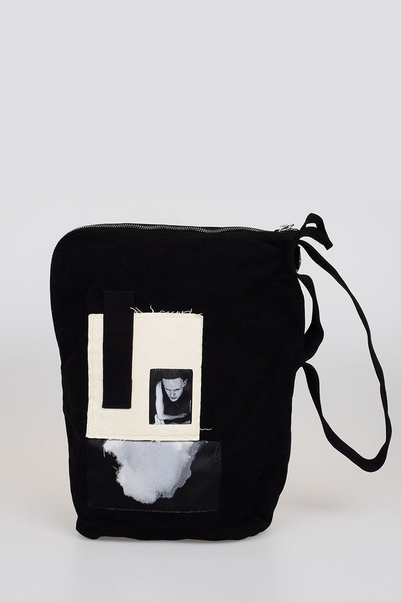 rick owens drkshdw cotton bucket bag with patches men glamood outlet