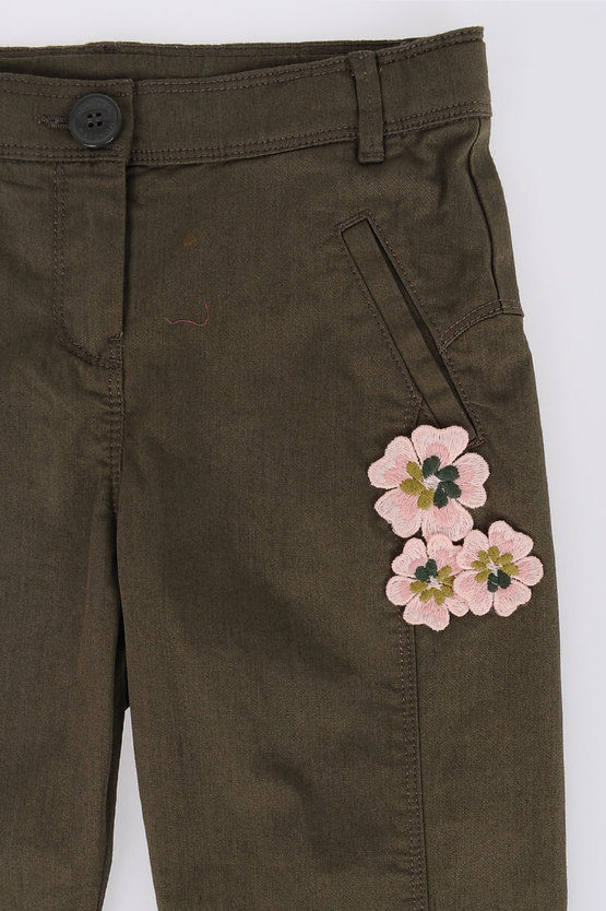 Embroidered Flowers Pants