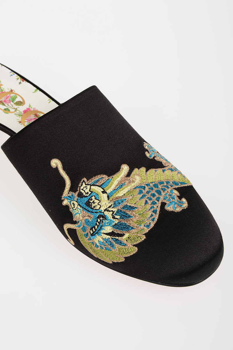 d30859d4db9 Gucci Embroidered Satin Mules women - Glamood Outlet