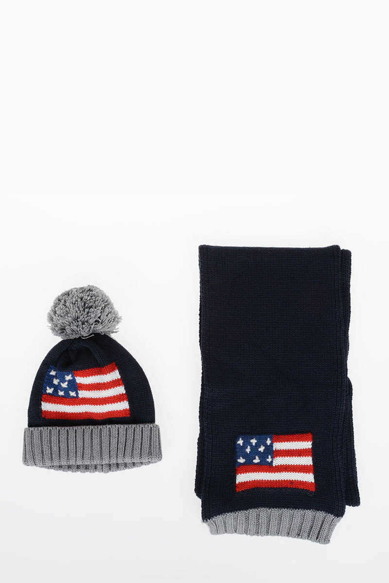 9d62fe8fb73355 closeout embroidered usa flag scarf and beanie hat set b318a 3e5d7