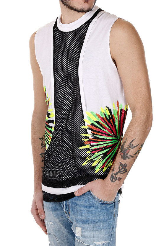 Embroidery and with Lace Sleeveless T-shirt