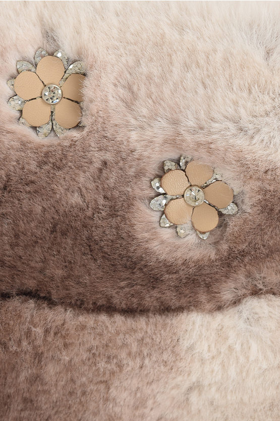 Embroidery Faux Fur Jacket