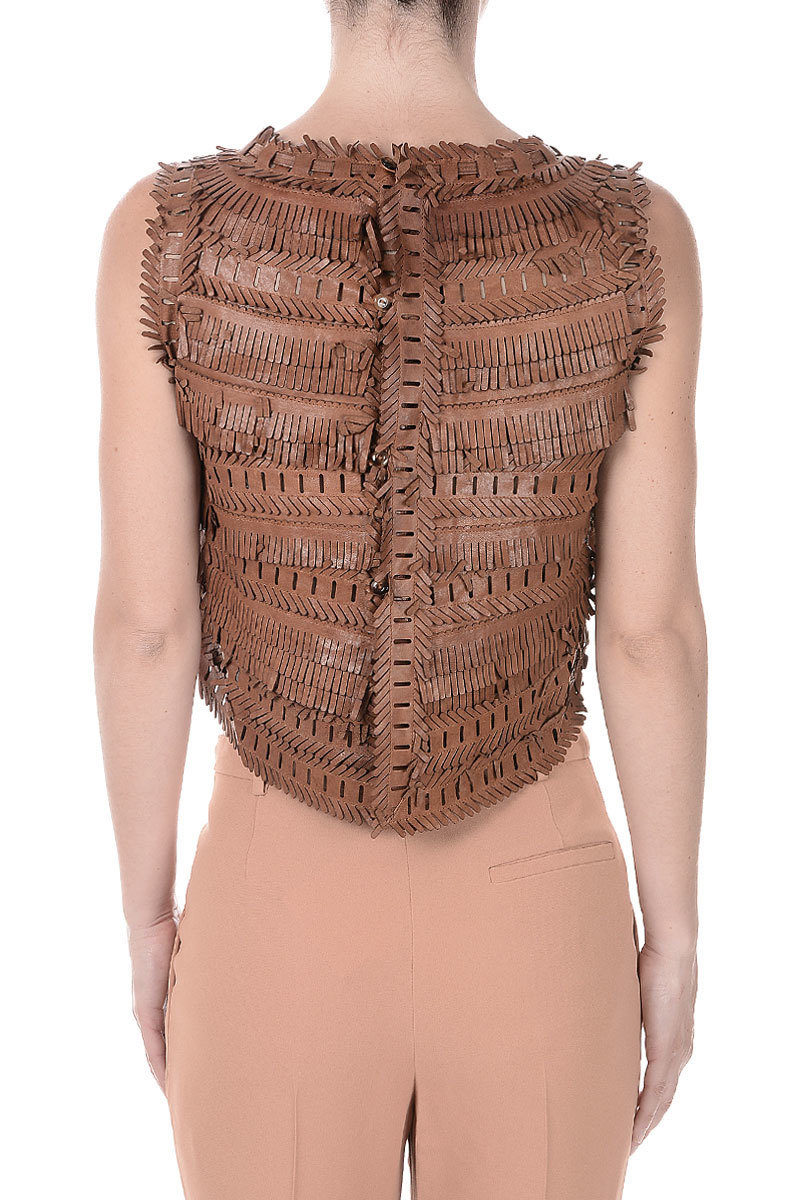 Ermanno Scervino Embroidery Leather Sleeveless Top women ...