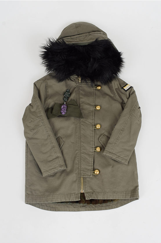 Embroidery Parka with Brooch
