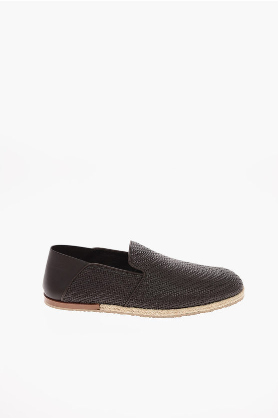 EZ LUXURY Braided Leather VALENCIA Slip On Sneakers