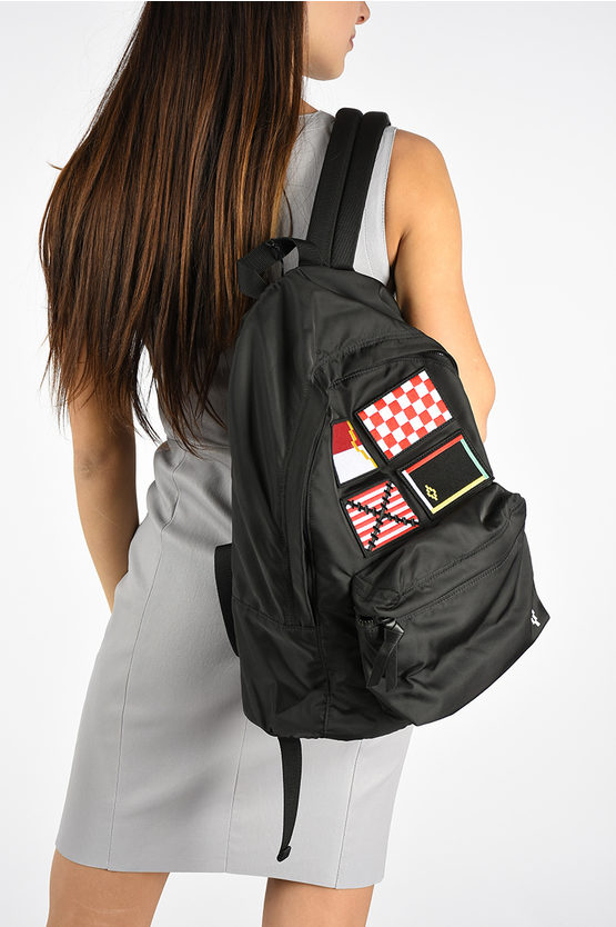 Fabric Backpack with Patches Applied