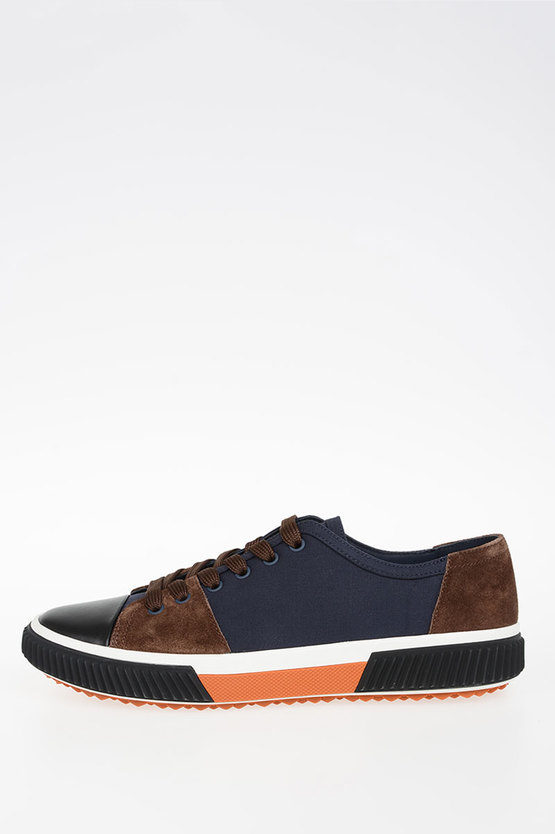 Fabric Sneakers with Suede Inserts