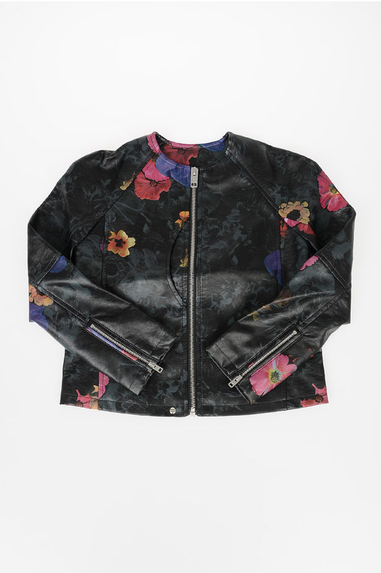 Faux Leather Floreal Jacket