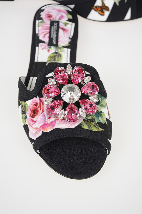 Floral Printed Fabric BIANCA Slides