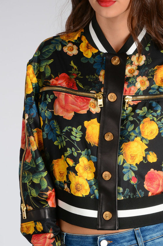 Floral Printed With Leather Details