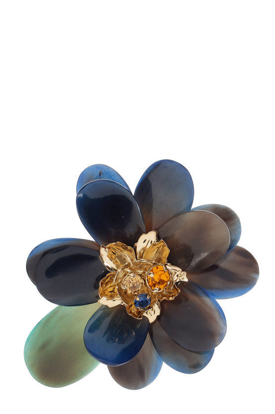 Flower Brooch with Horn Petals