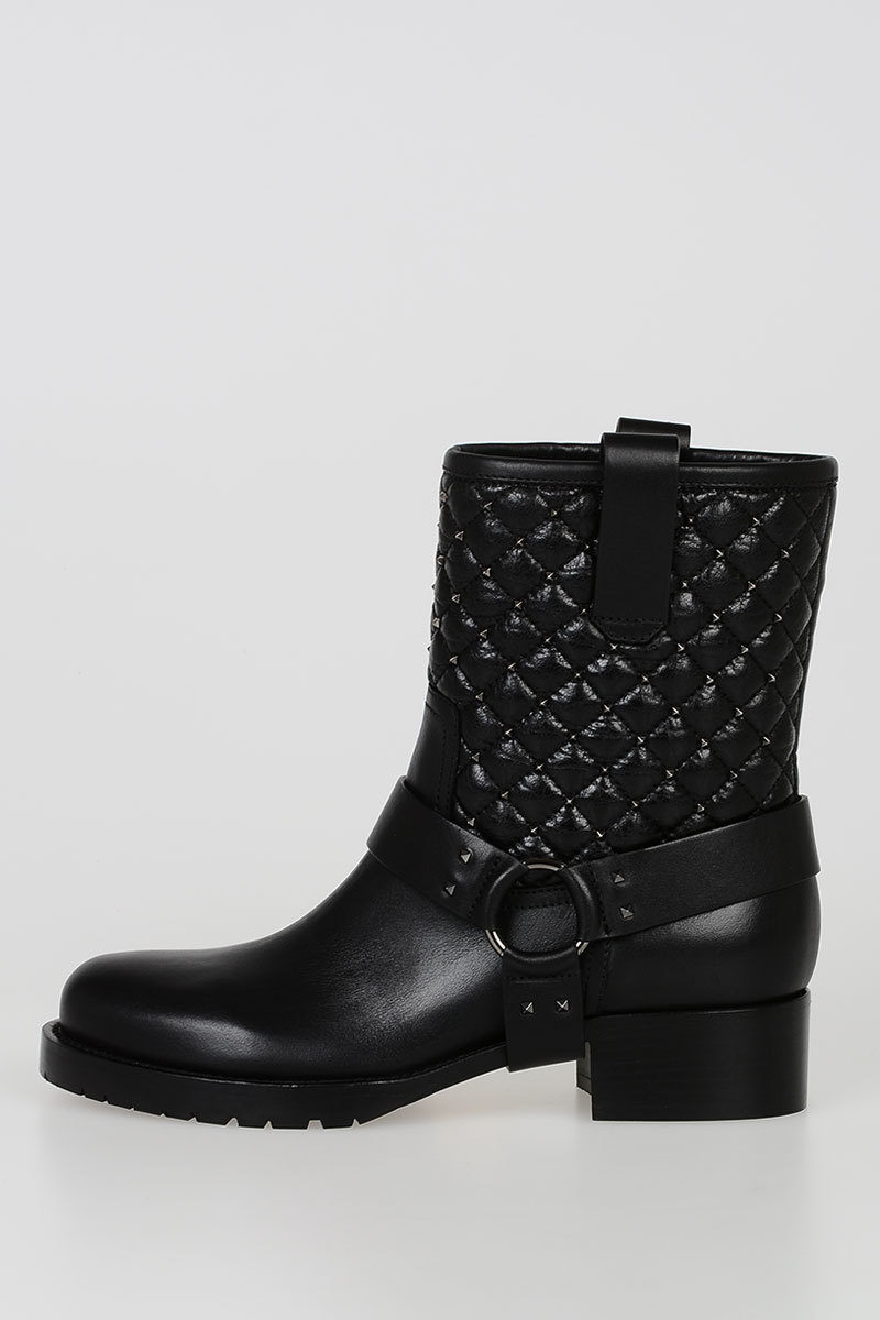Glamood Valentino Studs Leather Boots Outlet women GARAVANI XPZxqwxTv