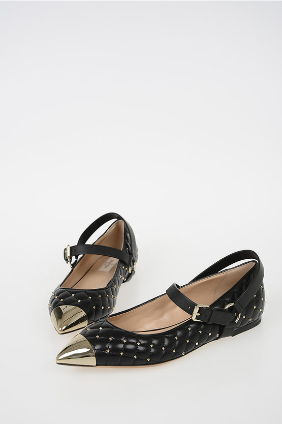 GARAVANI Quilted Leather ROCKSTUD Ballet Flats with Studs
