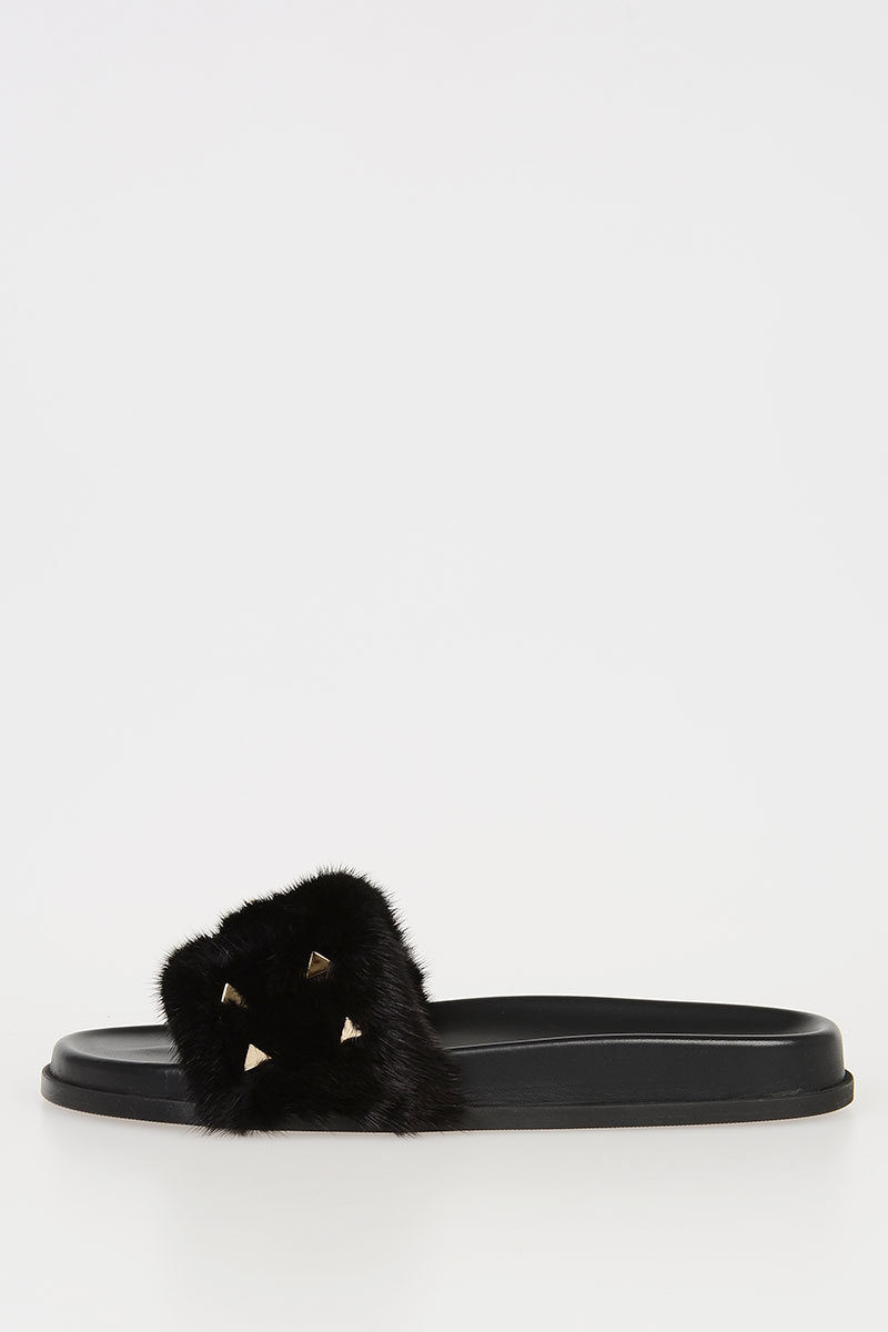 82099cd801e46 Valentino GARAVANI Slippers with Real Fur and Stud women - Glamood ...