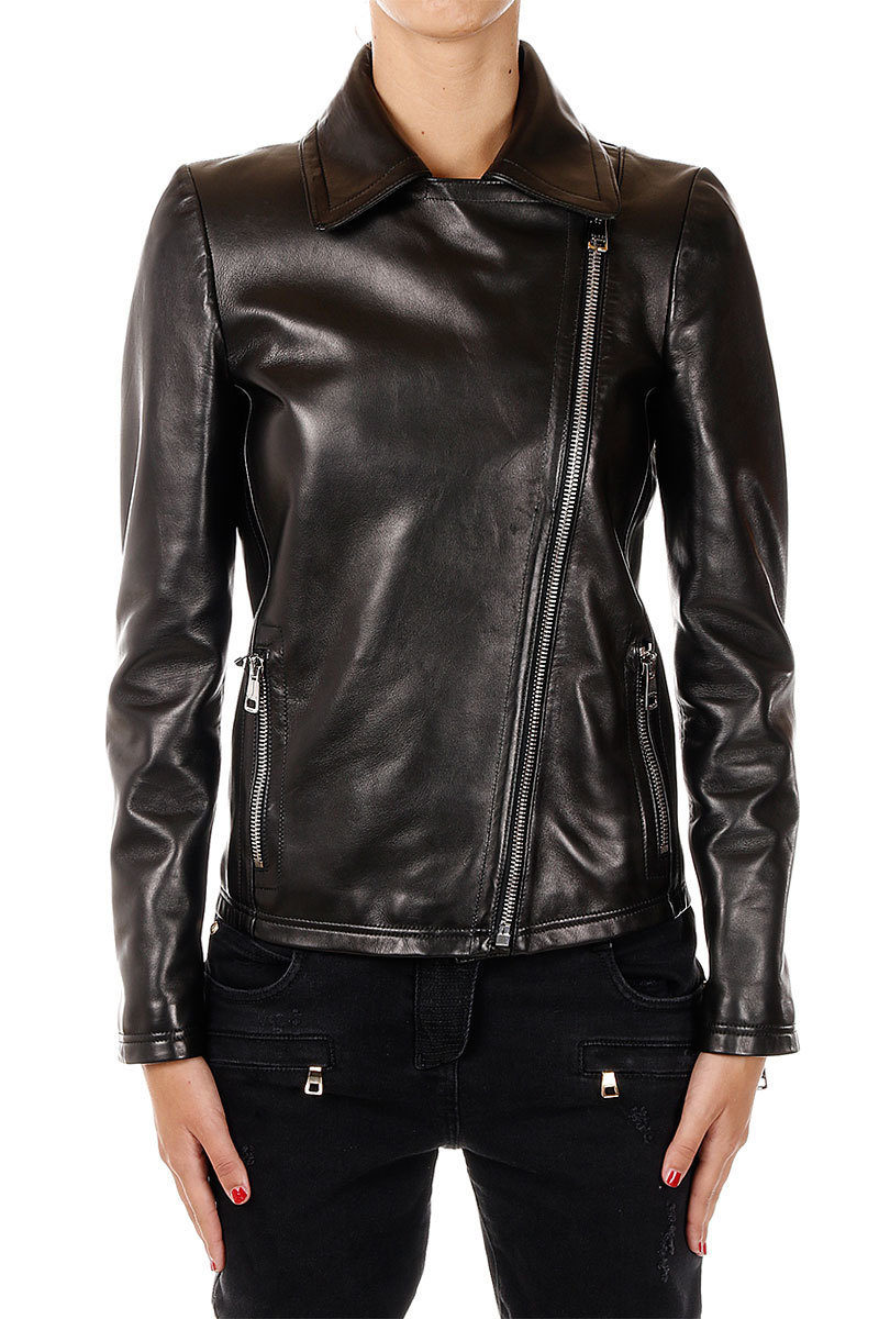 4b738a606 Gucci Giacca Biker in Pelle e Misto Lana donna - Glamood Outlet
