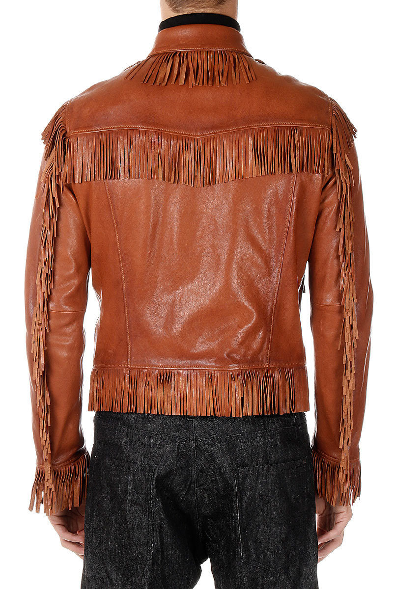uomo Dsquared2 Pelle Frange Outlet in Giacca Con Glamood qrEwHrX