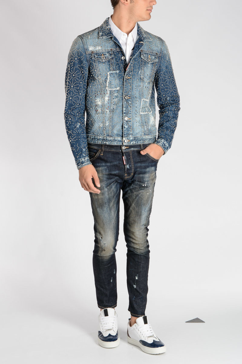 Glamood Outlet Borchie in Denim Giubbotto Dsquared2 con KABAN uomo 8w0q81Bn
