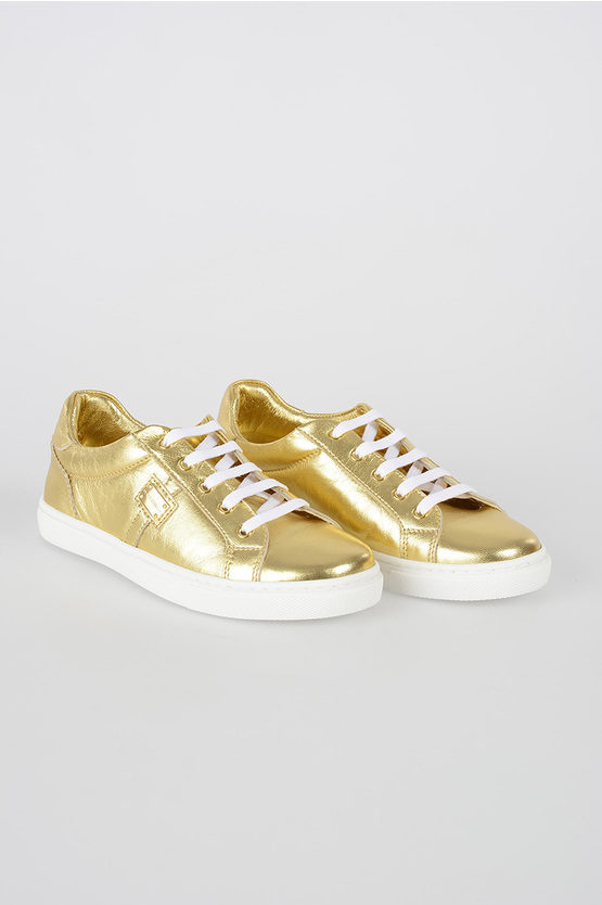 gold Tone Leather RACING Sneakers