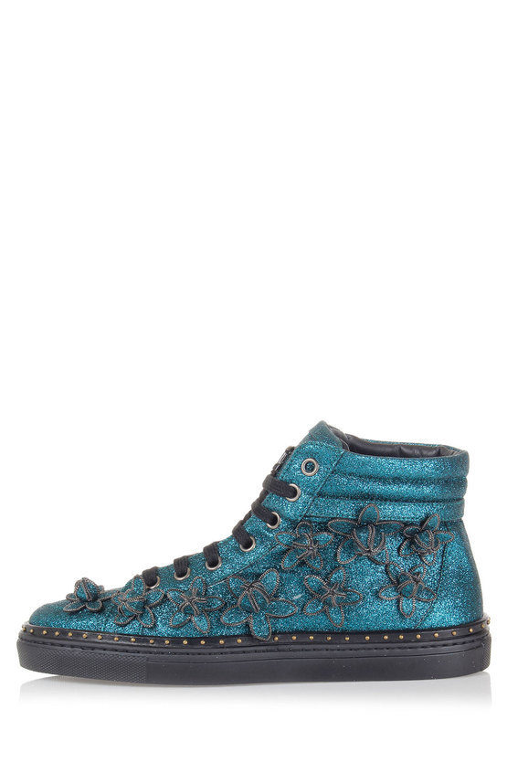 High Sneakers with Glitter