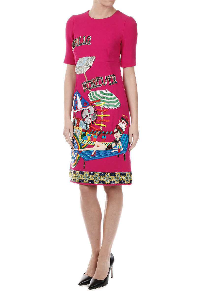 53024cfde0554 Dolce   Gabbana Italia Forever Embroidery Stretch Silk Dress women ...