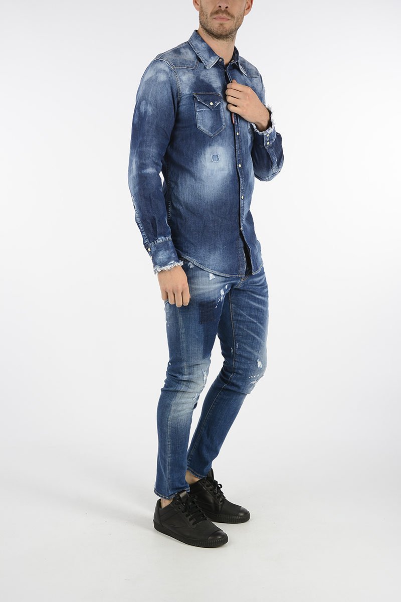 Dsquared2 Jeans SEXY TWIST in Denim Stretch 16cm uomo - Glamood Outlet 34a7536c761d