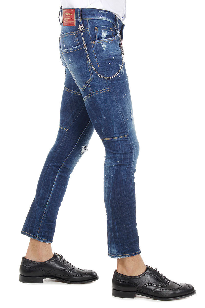 Dsquared2 Jeans TIDY BIKER in denim stretch 17 cm uomo - Glamood Outlet 1e240513a3f5